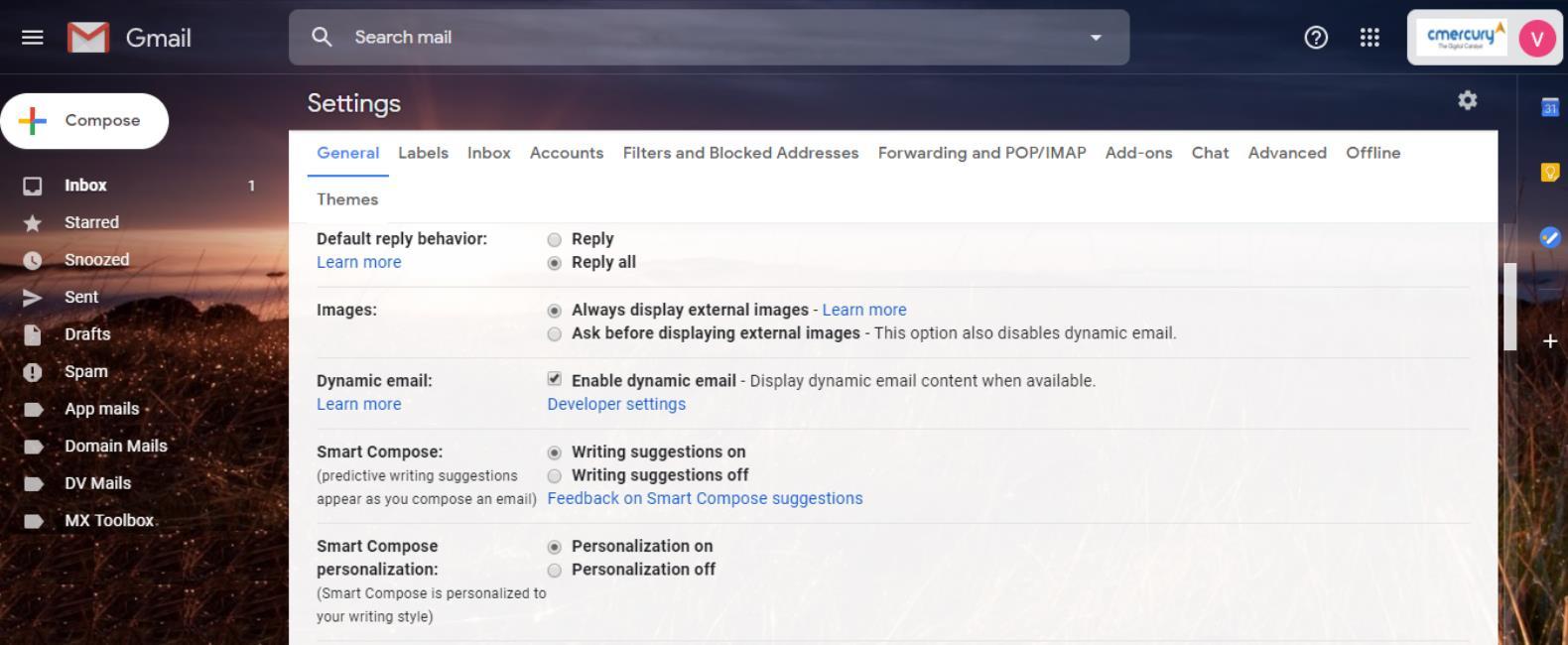 Dynamic email setting - cmercury